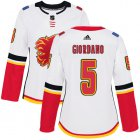 Cheap Adidas Flames #5 Mark Giordano White Road Authentic Women's Stitched NHL Jersey