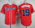 Cheap Braves #19 Andrelton Simmons Red Cool Base Stitched Baseball Jersey