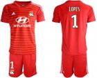 Cheap Lyon #1 Lopes Red Goalkeeper Soccer Club Jersey