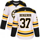 Cheap Adidas Bruins #37 Patrice Bergeron White Road Authentic Women's Stitched NHL Jersey