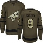 Cheap Adidas Coyotes #9 Clayton Keller Green Salute to Service Stitched Youth NHL Jersey