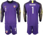 Cheap USA #1 Howard Purple Goalkeeper Long Sleeves Soccer Country Jersey