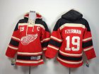 Cheap Red Wings #19 Steve Yzerman Red Sawyer Hooded Sweatshirt Stitched Youth NHL Jersey