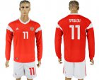 Cheap Russia #11 Smolov Red Home Long Sleeves Soccer Country Jersey