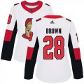 Cheap Adidas Senators #28 Connor Brown White Road Authentic Women's Stitched NHL Jersey