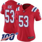 Cheap Nike Patriots #53 Josh Uche Red Alternate Women's Stitched NFL 100th Season Vapor Untouchable Limited Jersey