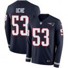 Cheap Nike Patriots #53 Josh Uche Navy Blue Team Color Youth Stitched NFL Limited Therma Long Sleeve Jersey