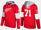 Cheap Red Wings #71 Dylan Larkin Red Name And Number Hoodie