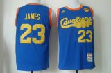 Cheap Men's Cleveland Cavaliers #23 LeBron James 2015 The Finals 2009 Blue Hardwood Classics Soul Swingman Throwback Jersey