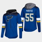 Cheap Blues #55 Colton Parayko Blue 2018 Pullover Platinum Hoodie