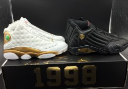 Cheap Jordan 13&14 Retro DMP Pack Shoes White Gold/Black Gold