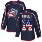 Cheap Adidas Blue Jackets #14 Gustav Nyquist Navy Blue Home Authentic USA Flag Stitched Youth NHL Jersey