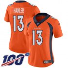Cheap Nike Broncos #13 KJ Hamler Orange Team Color Women's Stitched NFL 100th Season Vapor Untouchable Limited Jersey