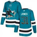 Cheap Adidas Sharks #31 Martin Jones Teal Home Authentic Drift Fashion Stitched NHL Jersey