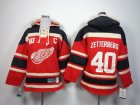 Cheap Red Wings #40 Henrik Zetterberg Red Sawyer Hooded Sweatshirt Stitched Youth NHL Jersey