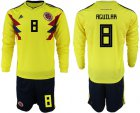 Cheap Colombia #8 Aguilar Home Long Sleeves Soccer Country Jersey