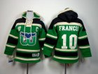 Cheap Whalers #10 Ron Francis Green Sawyer Hooded Sweatshirt Stitched Youth NHL Jersey