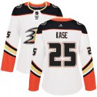 Cheap Adidas Ducks #25 Ondrej Kase White Road Authentic Women's Stitched NHL Jersey
