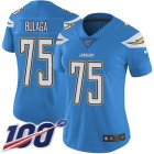 Cheap Nike Chargers #75 Bryan Bulaga Electric Blue Alternate Women's Stitched NFL 100th Season Vapor Untouchable Limited Jersey