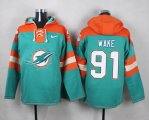 Cheap Nike Dolphins #91 Cameron Wake Aqua Green Player Pullover NFL Hoodie