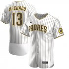 Cheap Nike San Diego Padres #13 Manny Machado Men's Nike White Brown Authentic Alternate Player Jersey
