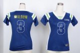 Cheap Nike Seahawks #3 Russell Wilson Steel Blue Women's Stitched NFL Elite Draft Him Shimmer Jersey