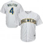 Cheap Brewers #4 Paul Molitor White Strip Cool Base Stitched Youth MLB Jersey