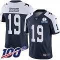 Cheap Nike Cowboys #19 Amari Cooper Navy Blue Thanksgiving Men's Stitched With Established In 1960 Patch NFL 100th Season Vapor Untouchable Limited Throwback Jersey