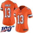 Cheap Nike Broncos #13 KJ Hamler Orange Women's Stitched NFL Limited Rush 100th Season Jersey