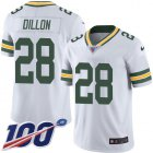 Cheap Nike Packers #28 AJ Dillon White Youth Stitched NFL 100th Season Vapor Untouchable Limited Jersey