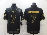 Cheap Men's Pittsburgh Steelers #7 Ben Roethlisberger Black Gold 2020 Salute To Service Stitched NFL Nike Limited Jersey
