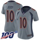 Cheap Nike Broncos #10 Jerry Jeudy Gray Women's Stitched NFL Limited Inverted Legend 100th Season Jersey