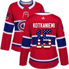 Cheap Adidas Canadiens #15 Jesperi Kotkaniemi Red Home Authentic USA Flag Women's Stitched NHL Jersey