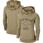 Cheap Women's New Orleans Saints Nike Khaki 2019 Salute to Service Therma Pullover Hoodie
