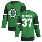 Cheap Boston Bruins #37 Patrice Bergeron Men's Adidas 2020 St. Patrick's Day Stitched NHL Jersey Green.jpg