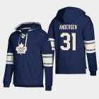 Cheap Toronto Maple Leafs #31 Frederik Andersen Blue adidas Lace-Up Pullover Hoodie