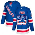 Cheap Adidas Rangers #23 Adam Foxs Royal Blue Home Authentic USA Flag Stitched NHL Jersey