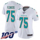 Cheap Nike Dolphins #75 Ereck Flowers White Women's Stitched NFL 100th Season Vapor Untouchable Limited Jersey