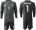 Cheap Argentina #1 Caballero Black Long Sleeves Goalkeeper Soccer Country Jersey