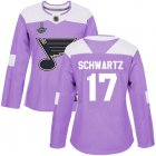Cheap Adidas Blues #17 Jaden Schwartz Purple Authentic Fights Cancer Stanley Cup Champions Women's Stitched NHL Jersey