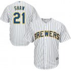 Cheap Brewers #21 Travis Shaw White Strip Cool Base Stitched Youth MLB Jersey