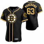 Cheap Boston Bruins #63 Brad Marchand Men's 2020 NHL x MLB Crossover Edition Baseball Jersey Black