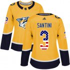Cheap Adidas Predators #3 Steven Santini Yellow Home Authentic USA Flag Women's Stitched NHL Jersey