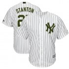 Cheap Yankees #27 Giancarlo Stanton White Strip New Cool Base 2018 Memorial Day Stitched MLB Jersey