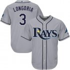 Cheap Rays #3 Evan Longoria Grey Cool Base Stitched Youth MLB Jersey