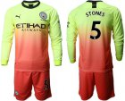 Cheap Manchester City #5 Stones Third Long Sleeves Soccer Club Jersey