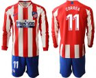 Cheap Atletico Madrid #11 Correa Home Long Sleeves Soccer Club Jersey