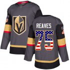 Cheap Adidas Golden Knights #75 Ryan Reaves Grey Home Authentic USA Flag Stitched Youth NHL Jersey