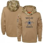 Cheap Youth Dallas Cowboys Nike Khaki 2019 Salute to Service Therma Pullover Hoodie