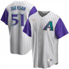 Cheap Arizona Diamondbacks #51 Randy Johnson Nike Alternate Cooperstown Collection Player MLB Jersey Cream Purple